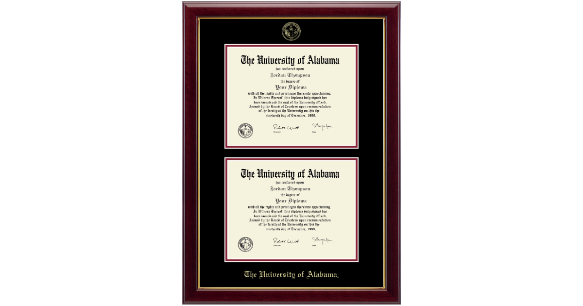 The University of Alabama Tuscaloosa Double Document Diploma Frame ...