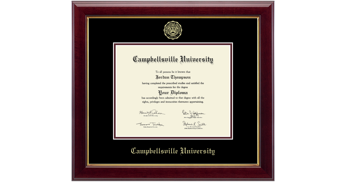 Campbellsville University Gold Embossed Diploma Frame In