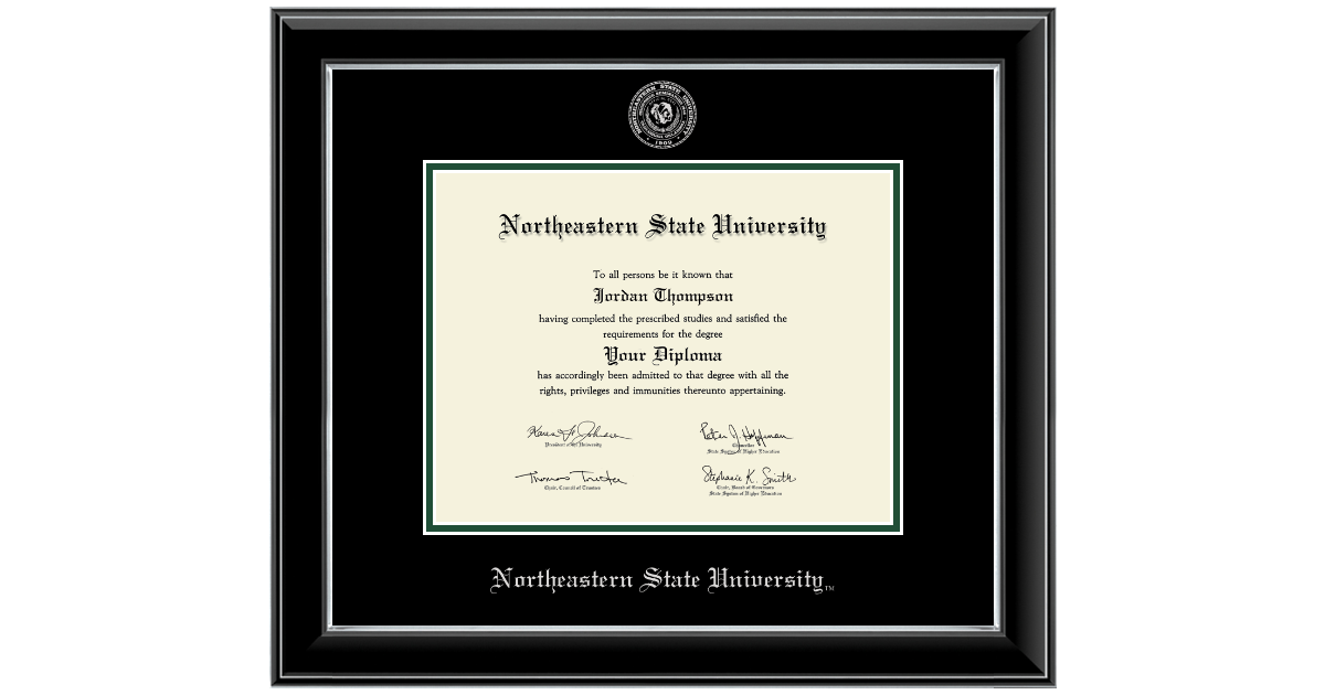 Northeastern State University Silver Embossed Diploma