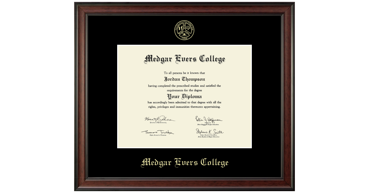 Medgar Evers College Gold Embossed Diploma Frame In Studio