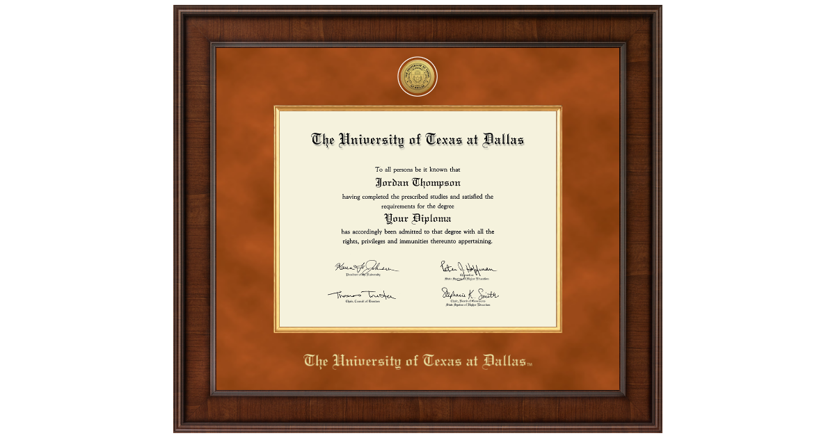 The University of Texas at Dallas Presidential Gold Engraved Diploma ...