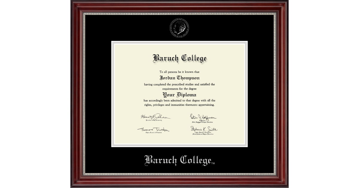 Baruch College Silver Embossed Diploma Frame In Kensington Silver