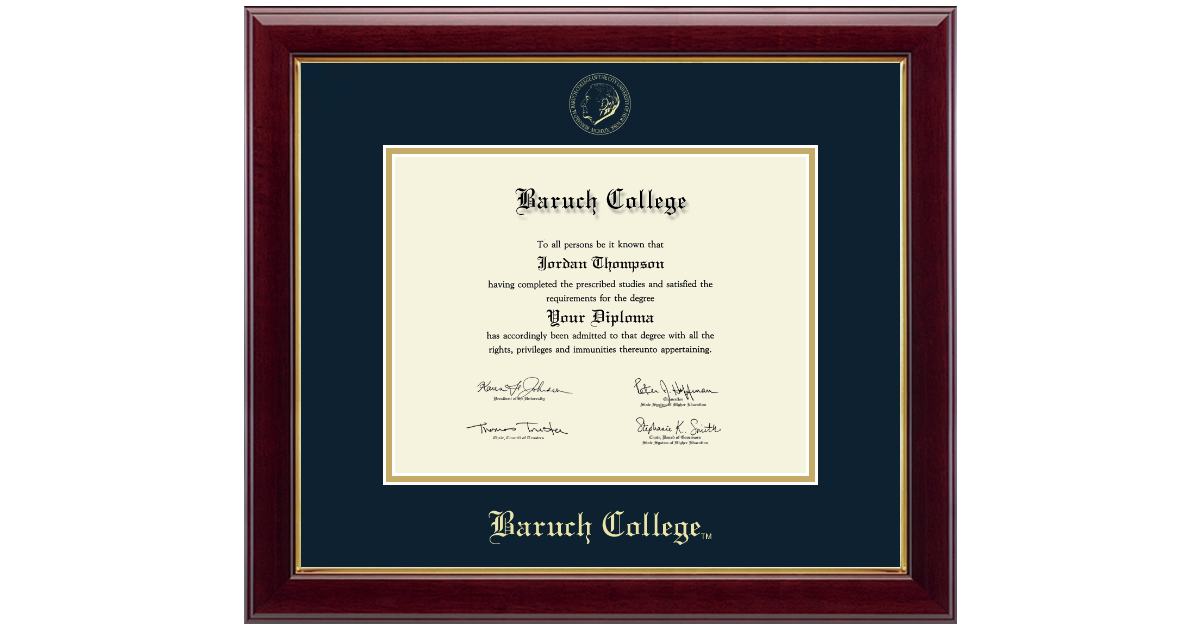 Baruch College Gold Embossed Diploma Frame In Gallery Item 239099