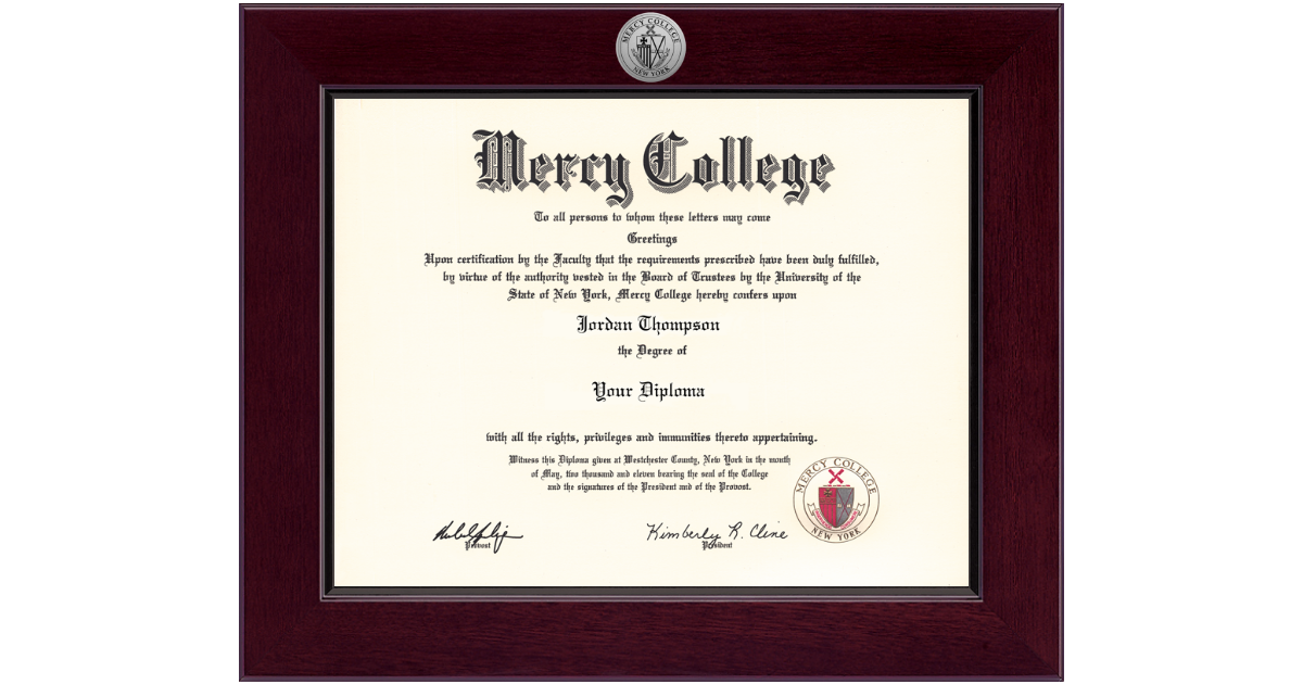 Mercy College Century Silver Engraved Diploma Frame in Cordova ...