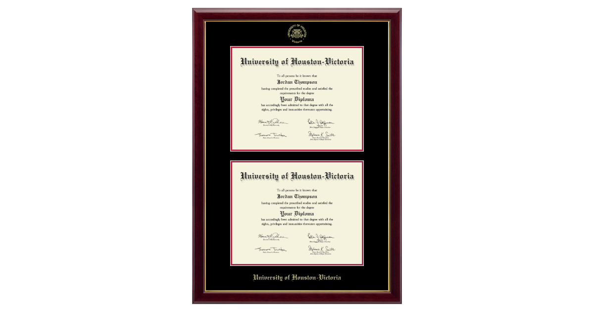 University of Houston - Victoria Double Document Diploma Frame in ...