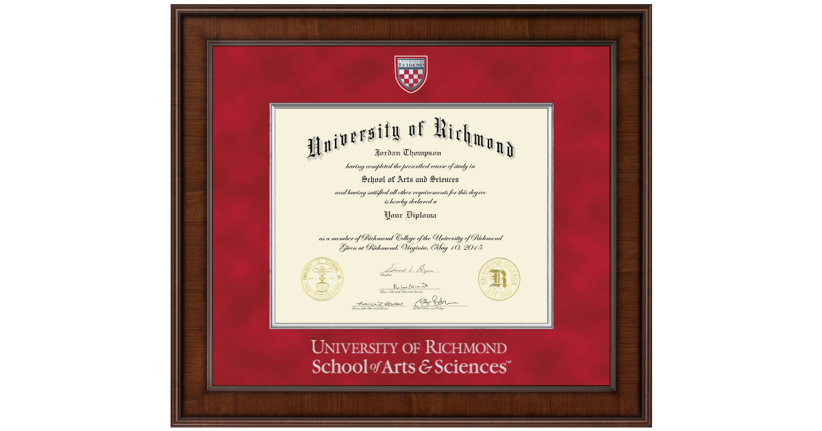 University Of Richmond Presidential Masterpiece Diploma Frame In
