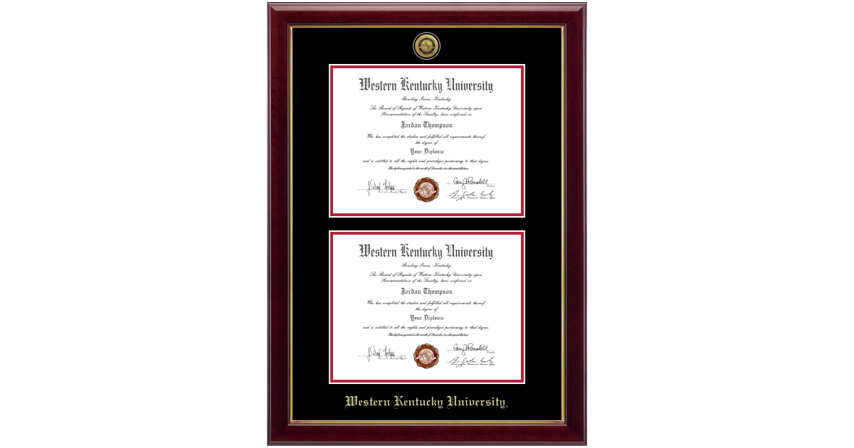 Western Kentucky University Gold Engraved Double Diploma