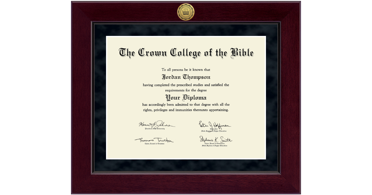 The Crown College of the Bible Millennium Gold Engraved Diploma ...