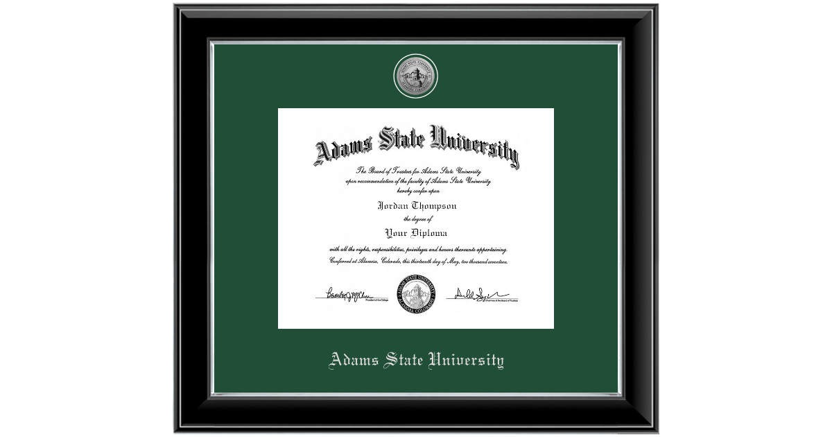 Adams State University Silver Engraved Medallion Diploma