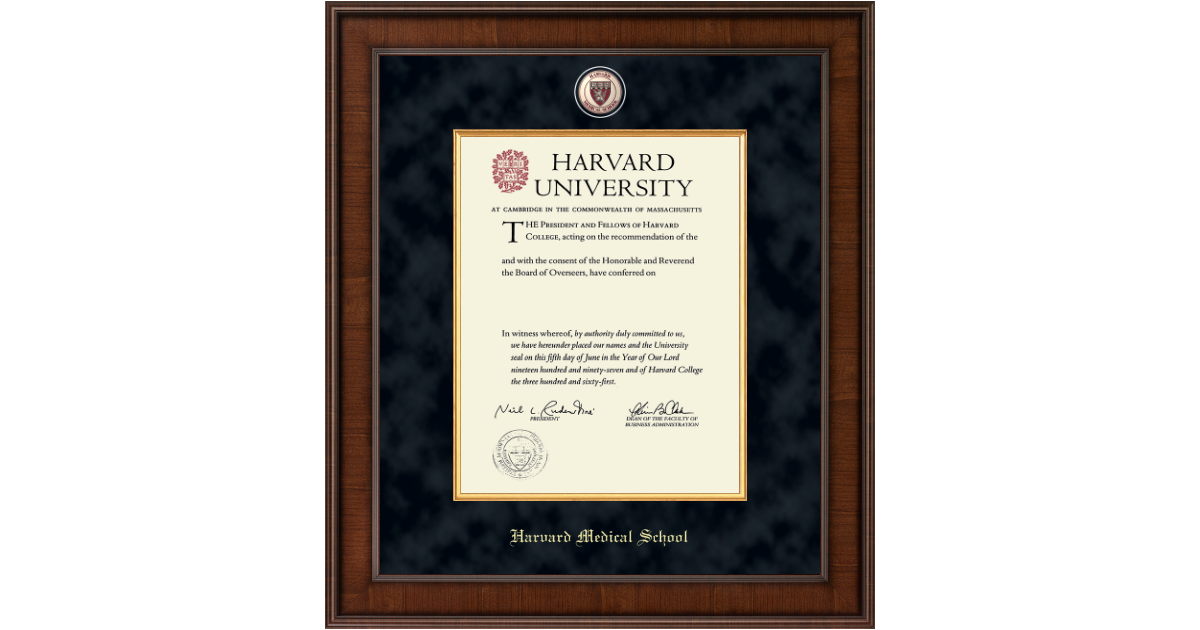 Harvard University Presidential Masterpiece Diploma Frame in Madison ...