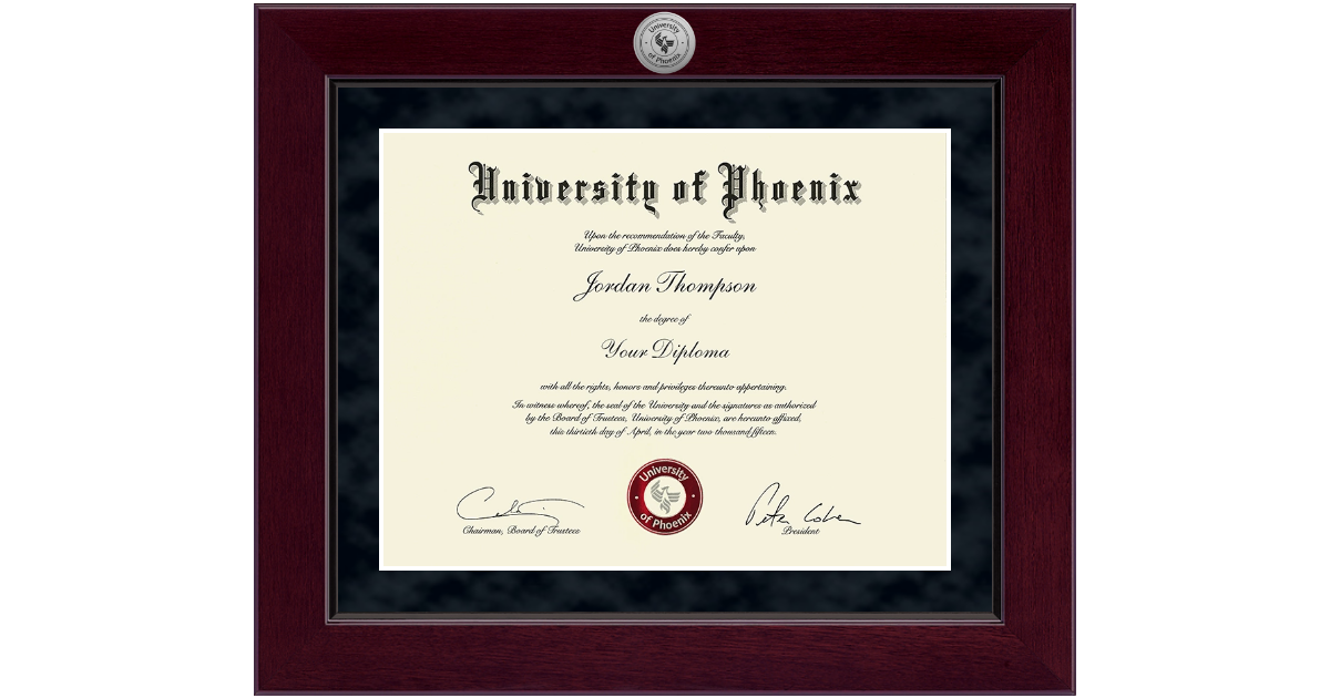 University Of Phoenix Millennium Silver Engraved Diploma