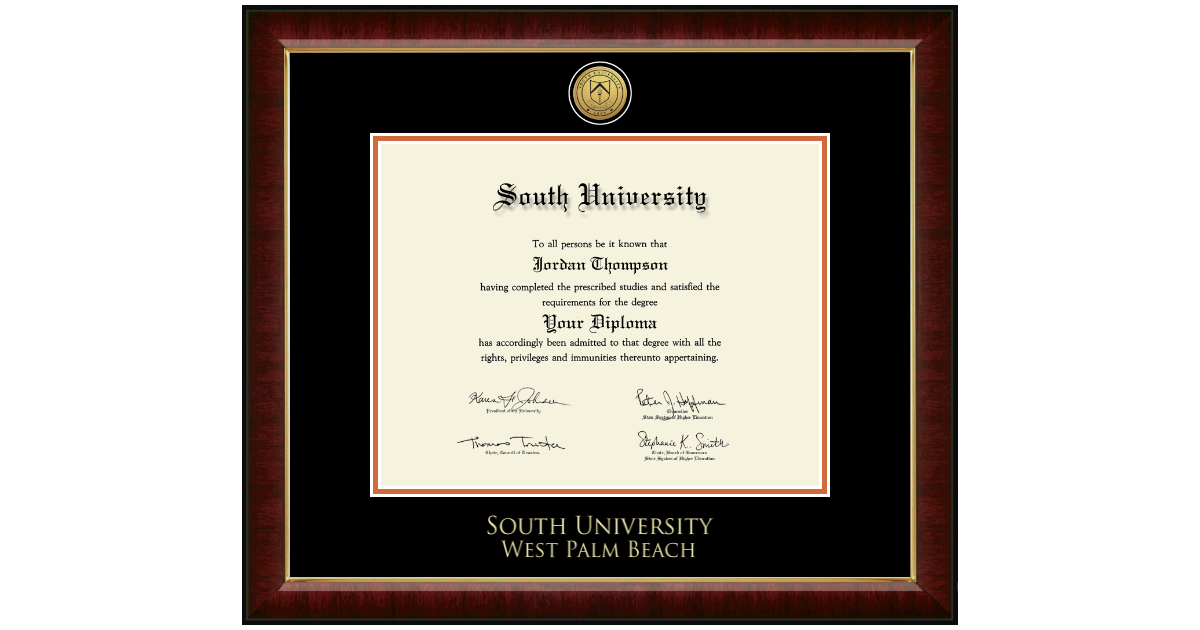 South University, West Palm Beach Gold Engraved Medallion Diploma ...