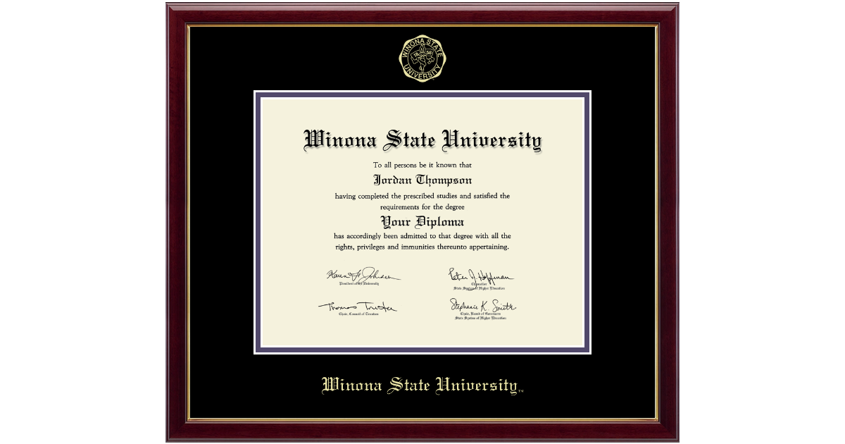 Winona State University Gold Embossed Diploma Frame In