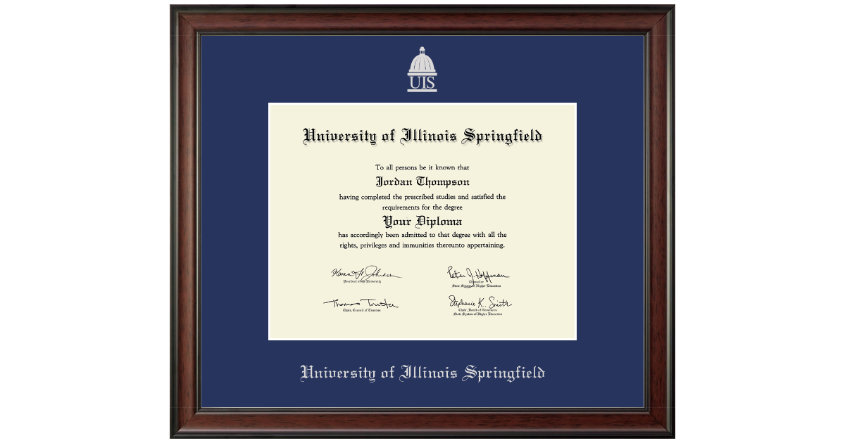 University Of Illinois Springfield Silver Embossed Diploma