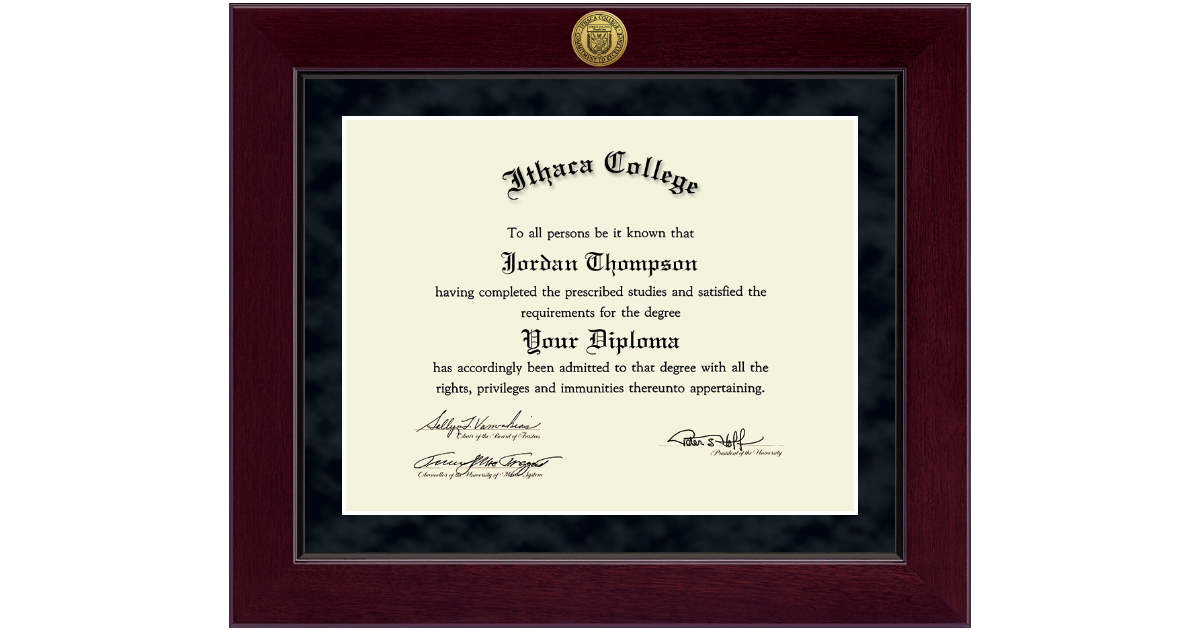 Ithaca College Millennium Gold Engraved Diploma Frame in Cordova ...