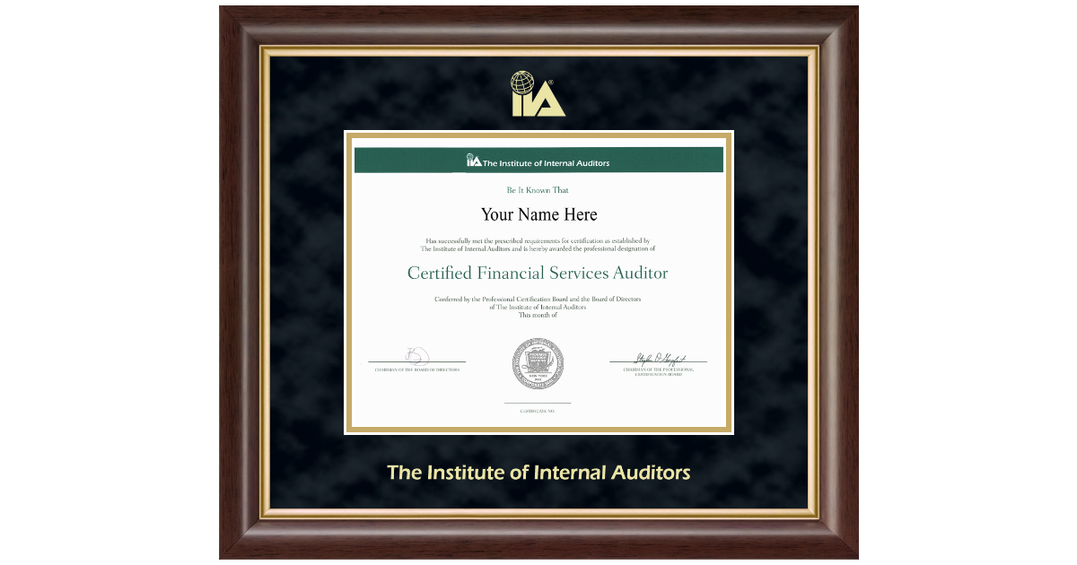 The Institute Of Internal Auditors Gold Embossed Certificate Frame