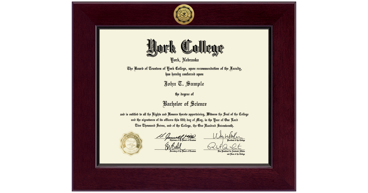 York College of Nebraska Diploma Frame