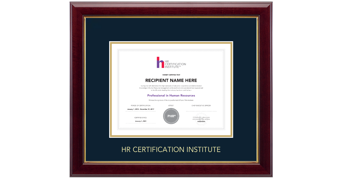 Human Resource Certification Institute Gold Embossed