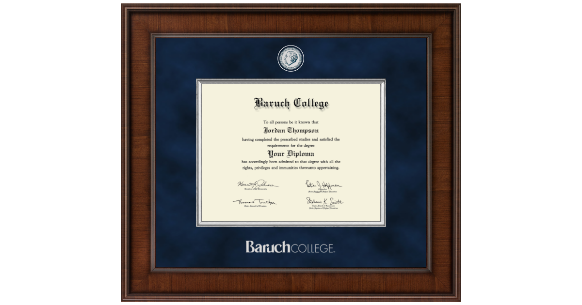 Baruch College Presidential Masterpiece Diploma Frame In Madison