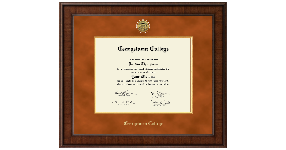 Georgetown College Presidential Gold Engraved Diploma