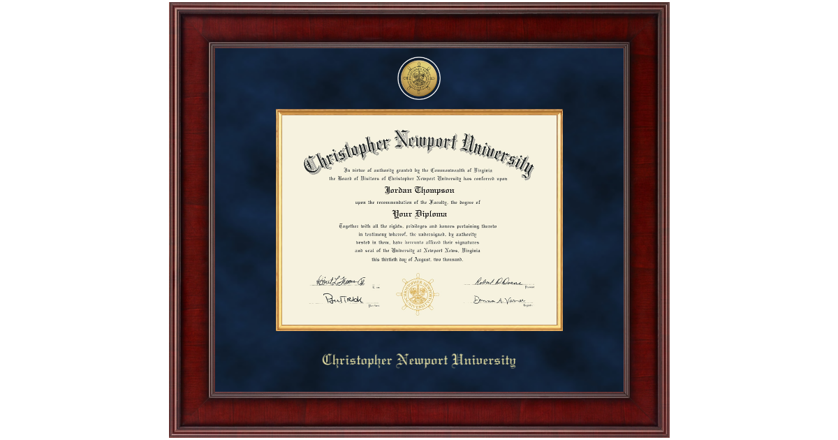 Christopher Newport University Presidential Gold Engraved
