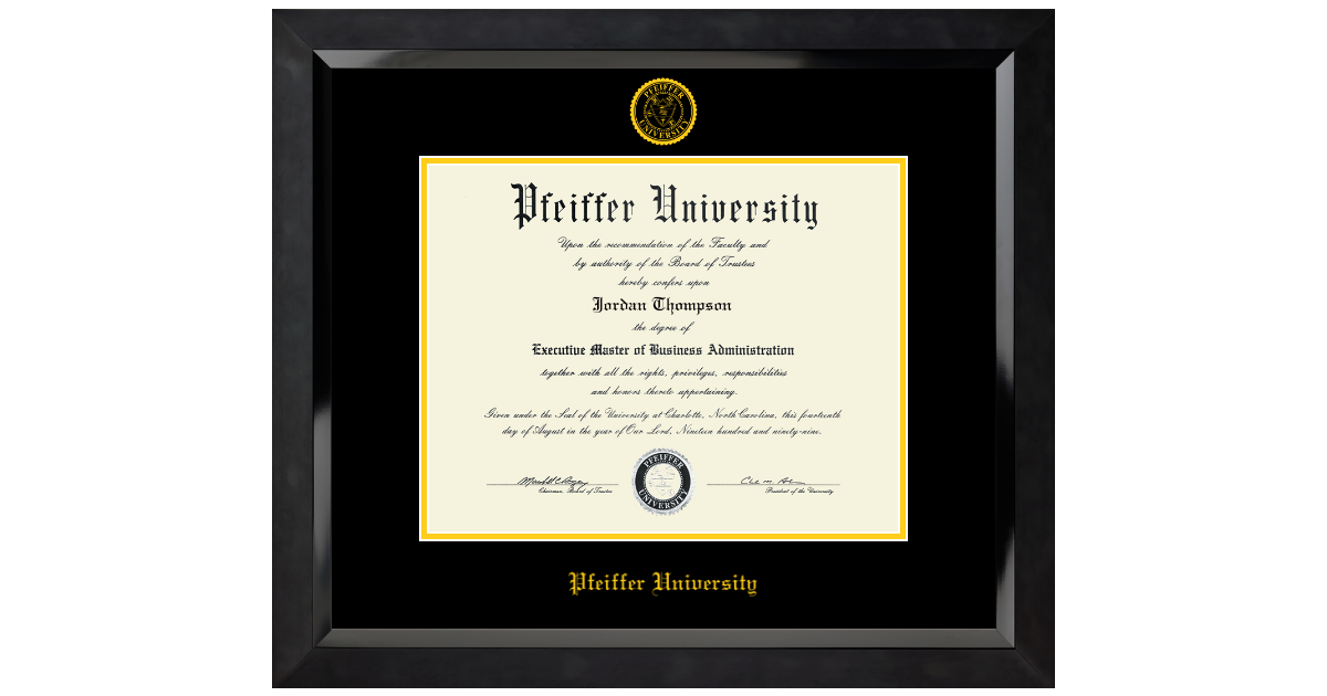 Pfeiffer University Yellow Embossed Diploma Frame In