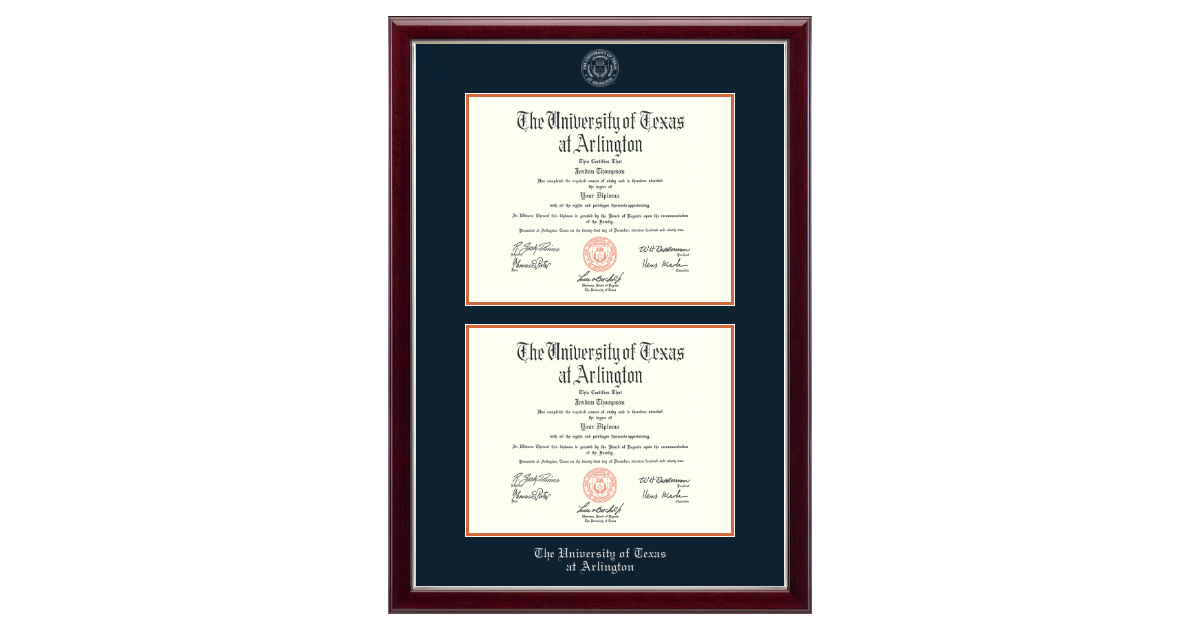The University Of Texas At Arlington Double Diploma Frame