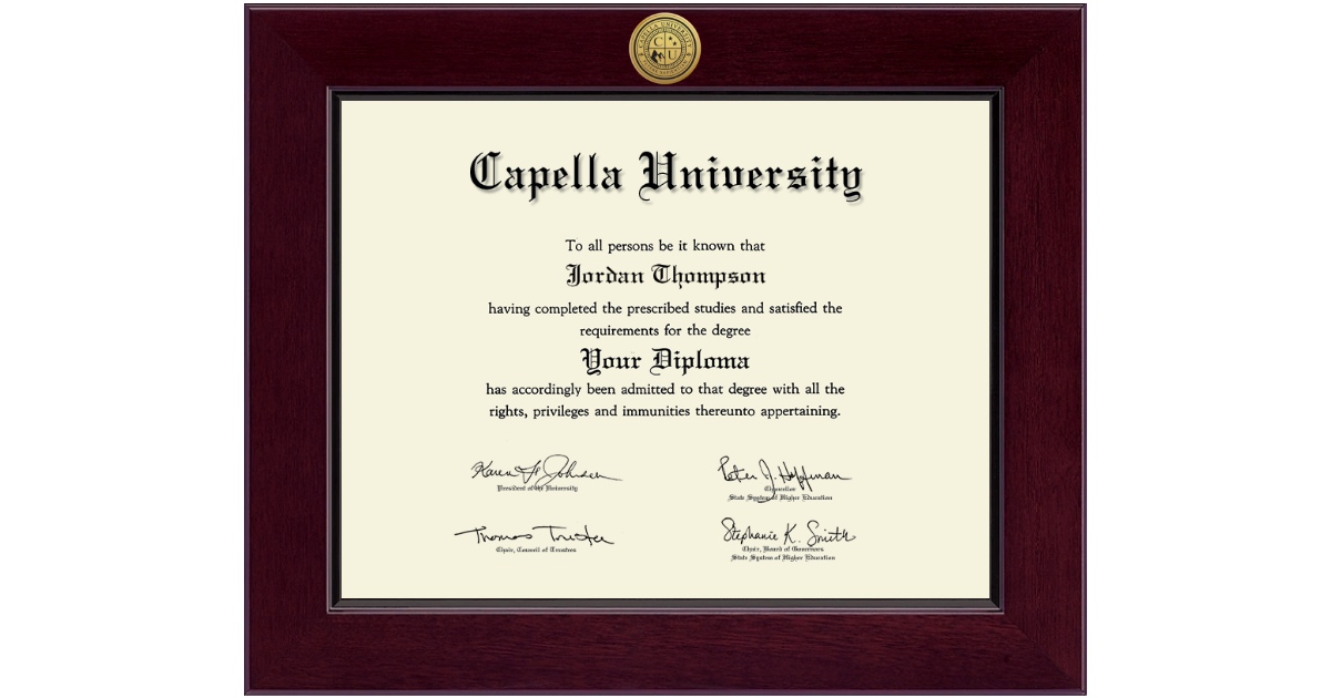 Capella University Century Gold Engraved Diploma Frame In