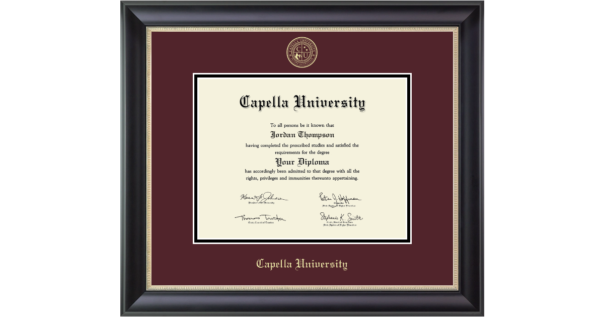 Capella University Gold Embossed Diploma Frame In Noir