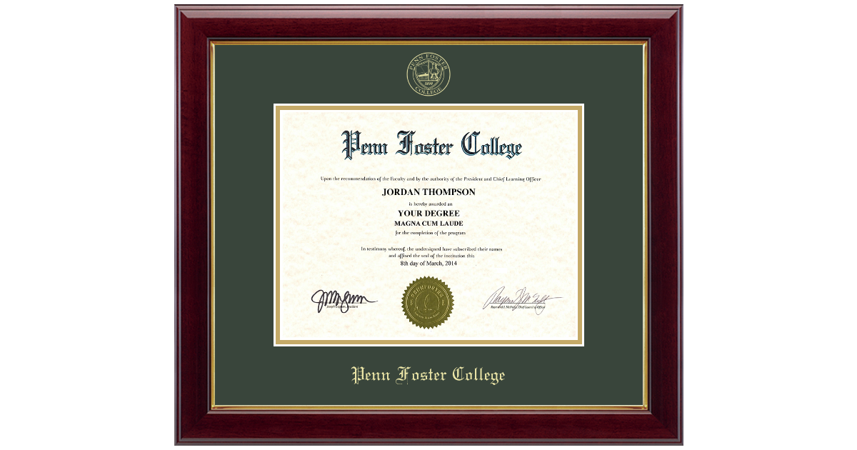 Penn Foster College Gold Embossed Diploma Frame In Gallery