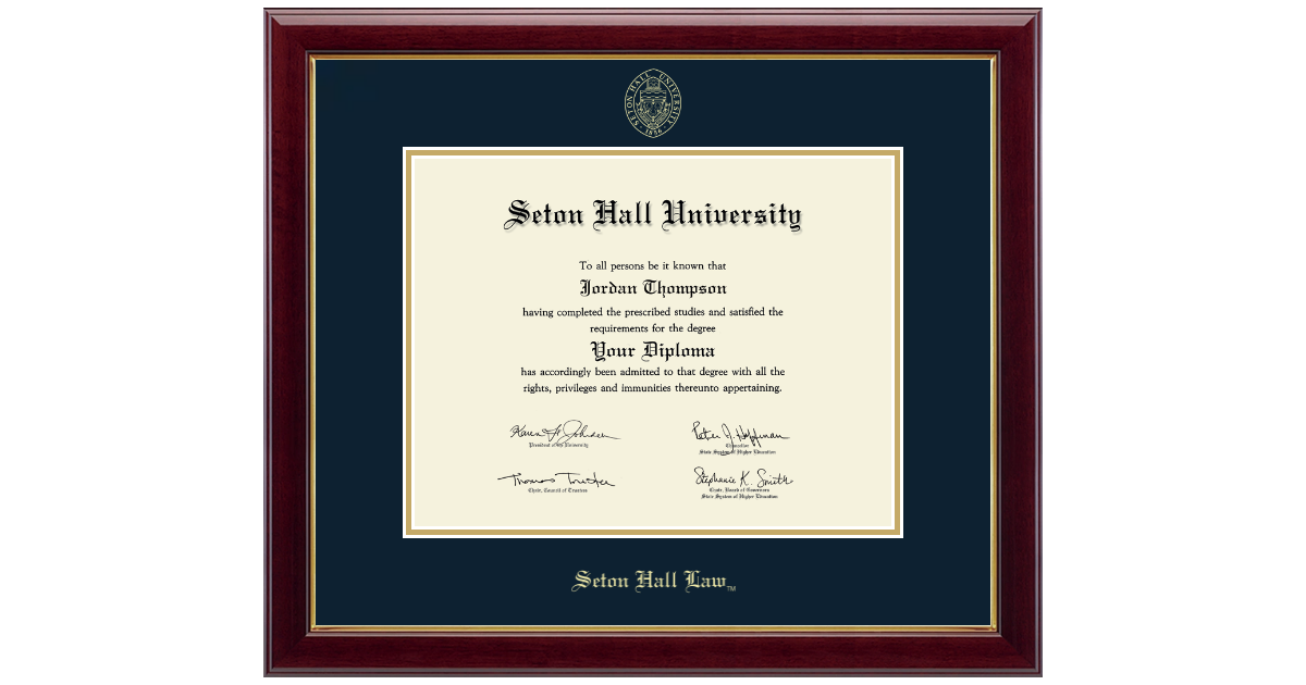 Seton Hall University Gold Embossed Diploma Frame In