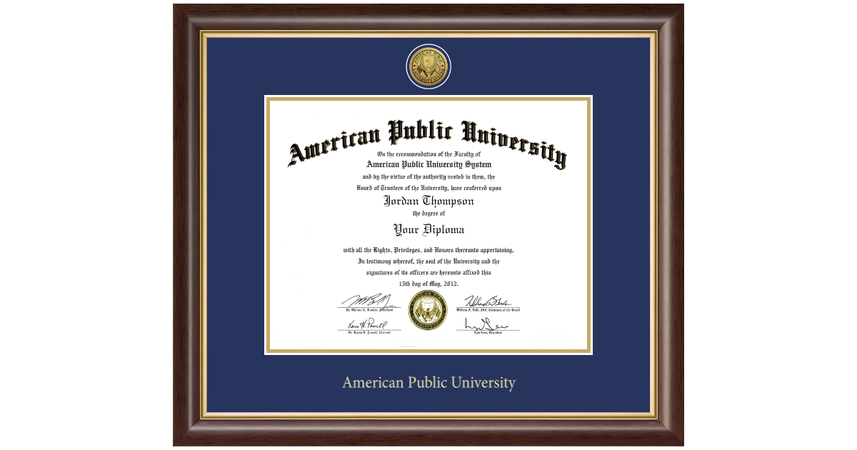 American Public University Gold Engraved Medallion Diploma