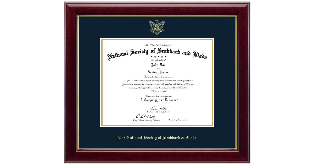 The National Society Of Scabbard Blade Gold Embossed Certificate