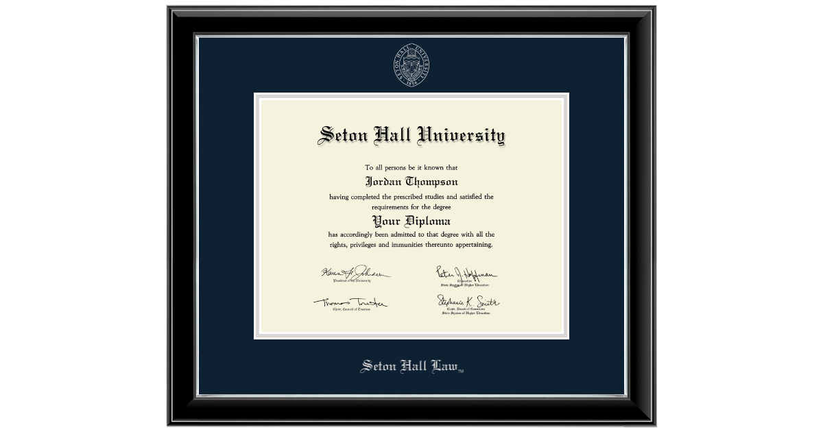 Seton Hall University Silver Embossed Diploma Frame In