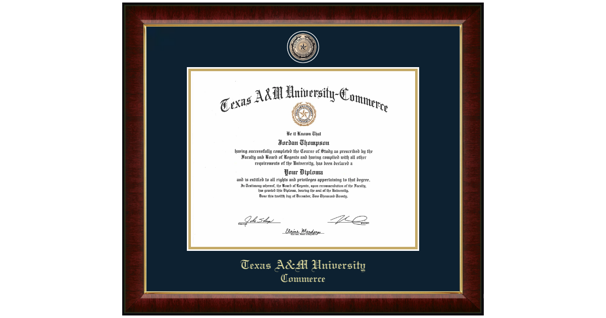 Texas A&M University - Commerce Masterpiece Medallion Diploma Frame ...