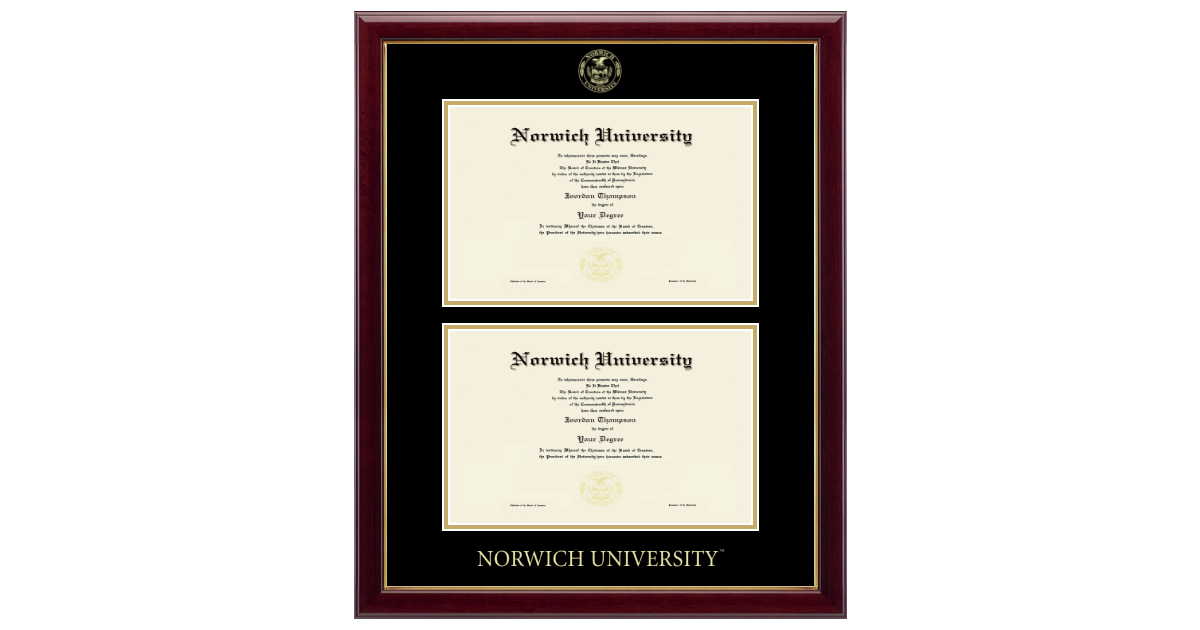 Norwich University Double Diploma Frame In Gallery Item