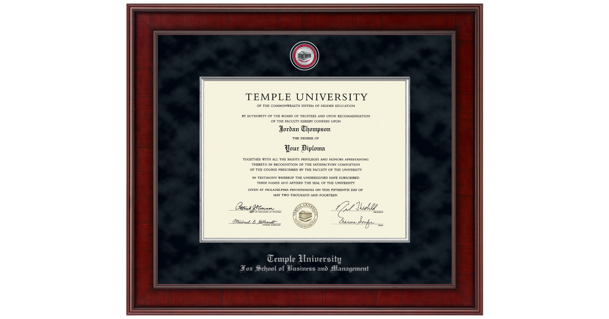 Temple University Presidential Masterpiece Diploma Frame