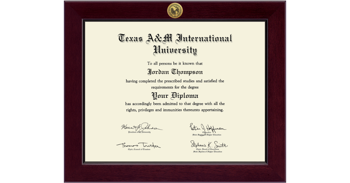 Texas A&M International University in Laredo Century Gold Engraved ...