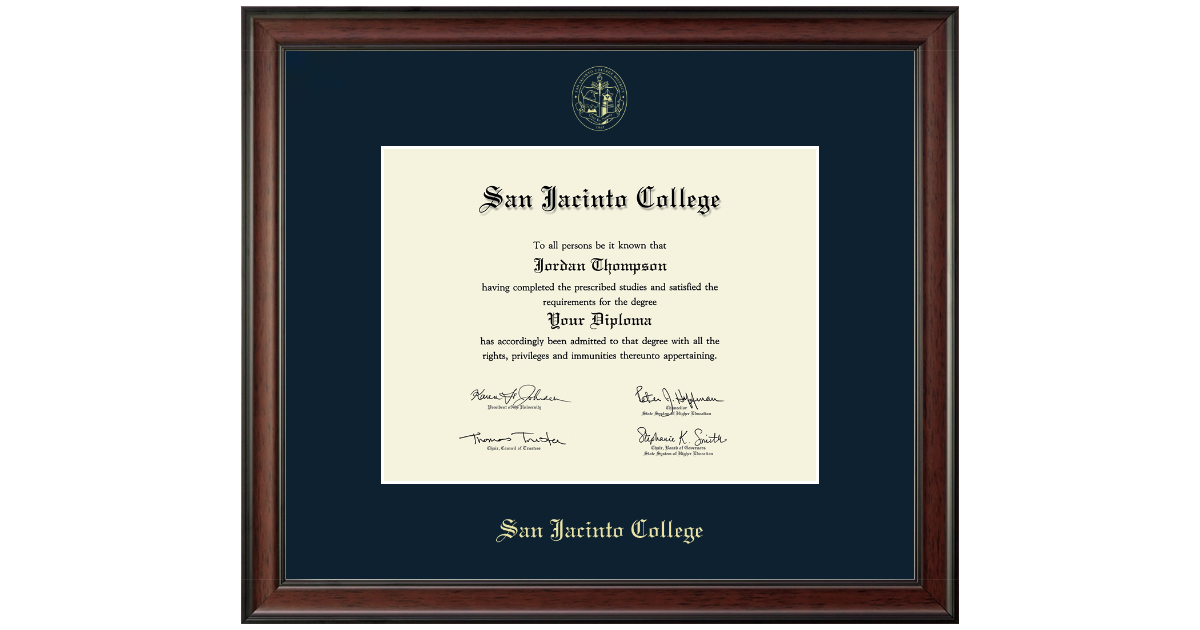 San Jacinto College Gold Embossed Diploma Frame In Studio