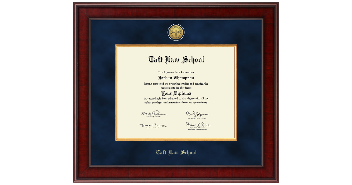 Taft Law School Presidential Gold Engraved Diploma Frame