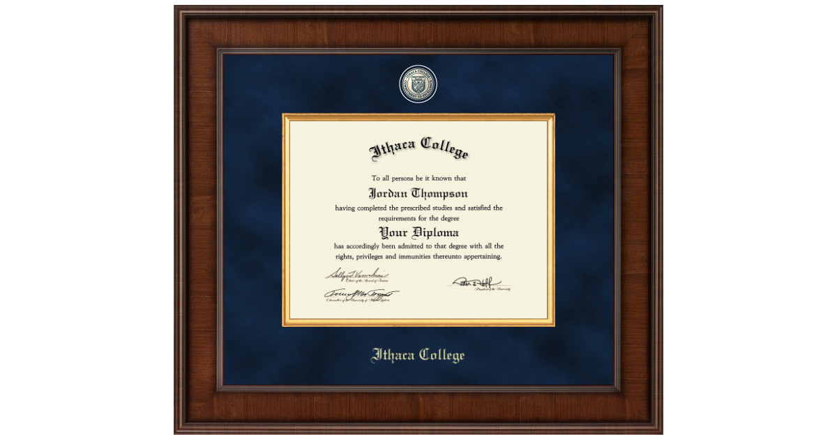 Ithaca College Presidential Masterpiece Diploma Frame In