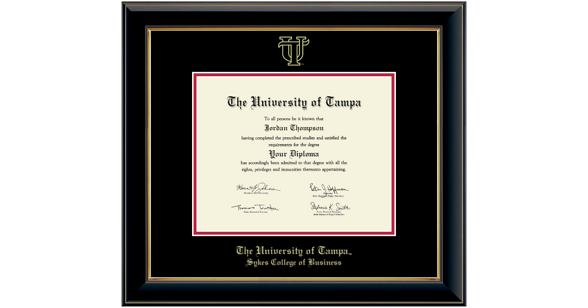 University Of Tampa Gold Embossed Diploma Frame In Onyx