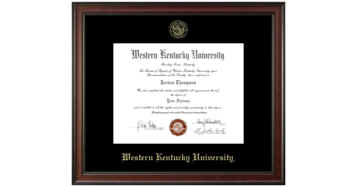 Western Kentucky University Gold Embossed Diploma Frame In