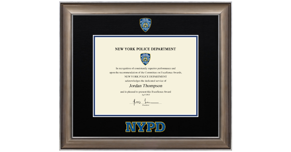 Police Department City Of New York Dimensions Certificate