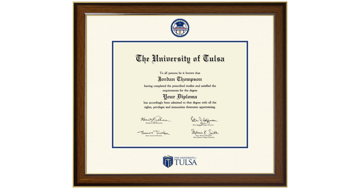 The University of Tulsa Dimensions Diploma Frame in Westwood - Item ...