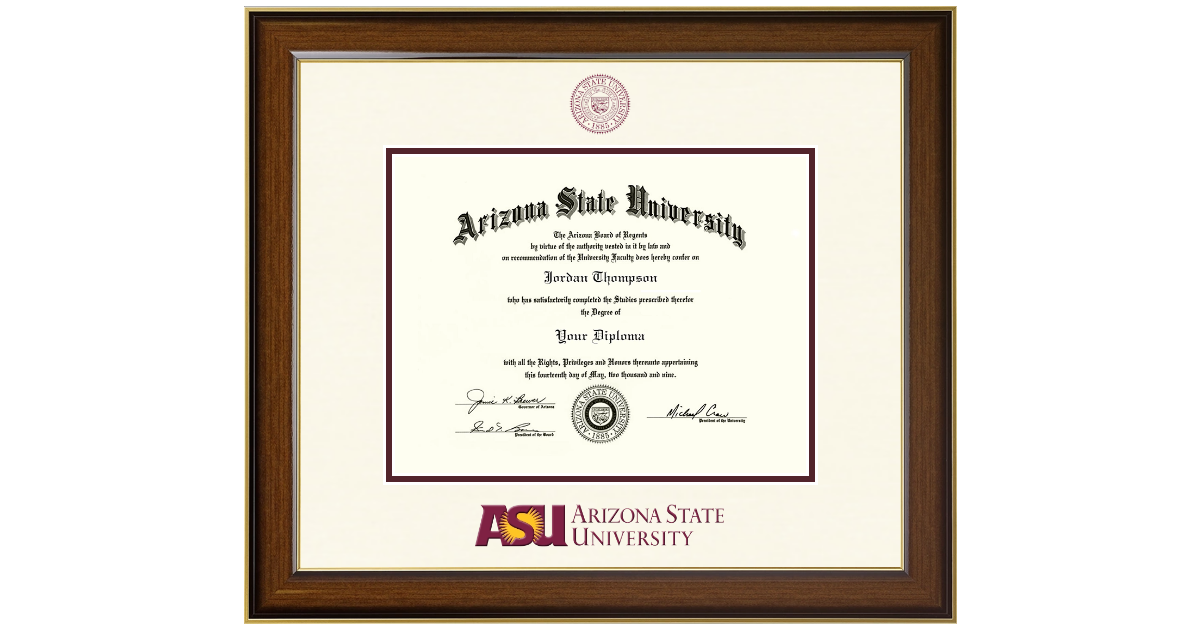 Arizona State University Dimensions Diploma Frame In