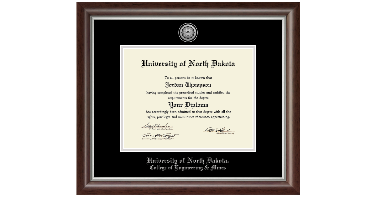 University of North Dakota Silver Engraved Medallion Diploma Frame ...