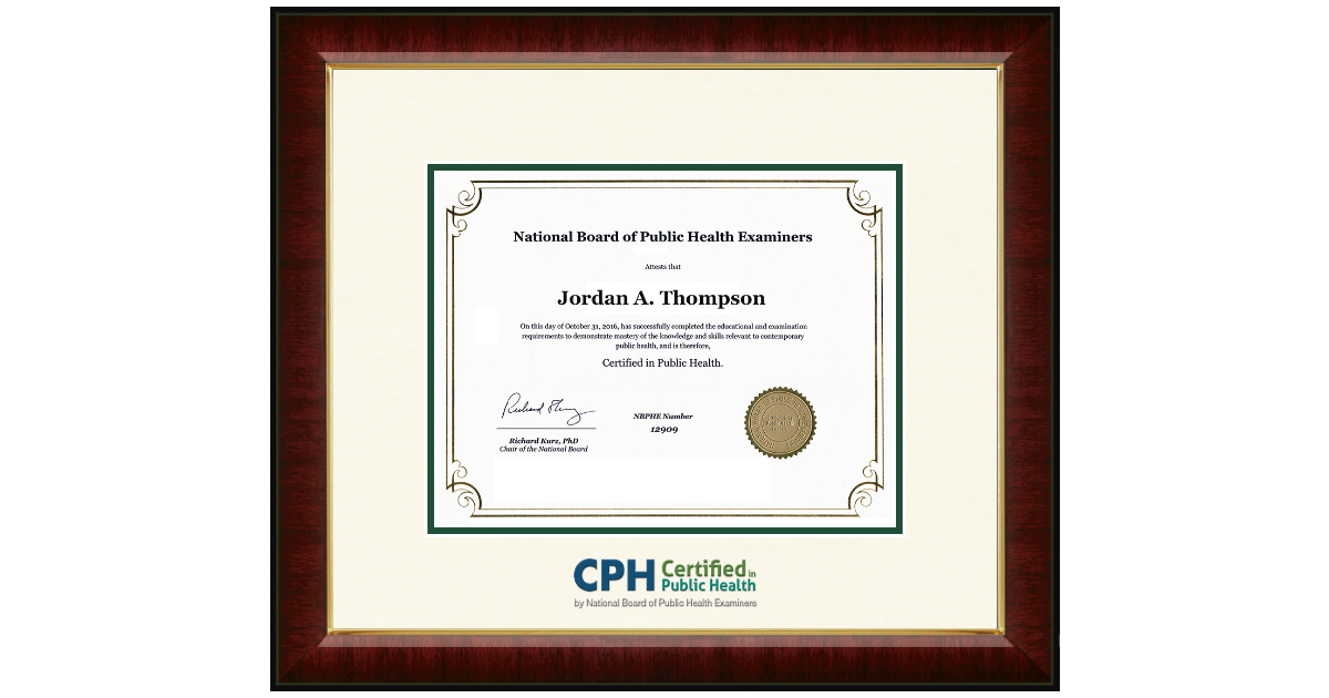 National Board Of Public Health Examiners Dimensions Certificate