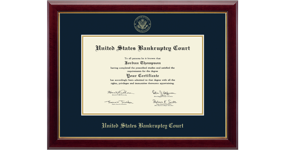United States Bankruptcy Court Gold Embossed Certificate Frame In