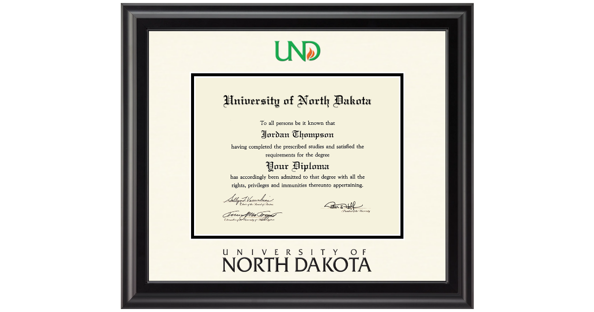 University of North Dakota Dimensions Diploma Frame in Midnight ...